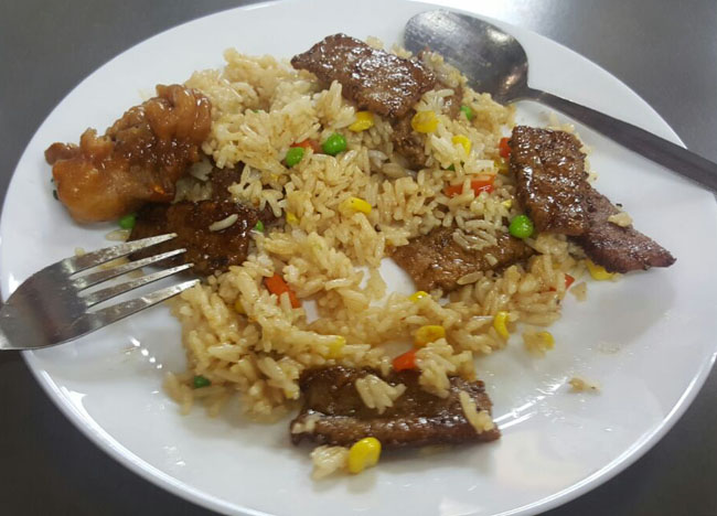 Fried Rice with Fake Meat Made from Soy