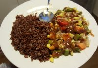 Pecel with Red Rice
